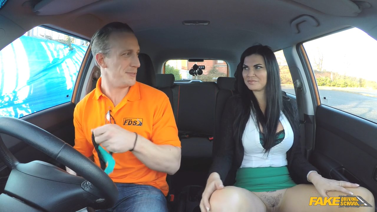 Fake driving school instructor gets titty wank from big tits 7